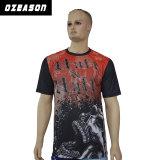 T-shirt rouge et noir du polyester 100% de bonne qualité de la mode des hommes