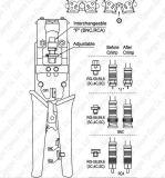 Ferramenta de Crimpagem de compressão ajustável para coaxial RG6 RG59 F do conector do cabo RCA BNC