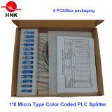 Micro tipo codificato colore divisore ottico del PLC della fibra
