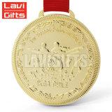 Seule vente en gros ronde faite sur commande en alliage de zinc bon marché de médaille de blanc de sport en métal d'or de récompense de sport de souvenir de promotion du métier 3D