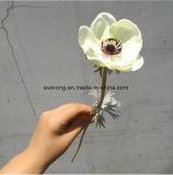 Weiße reale Großhandelsnote PU-künstliche Anemone-Blume für Hochzeits-Blumensträuße