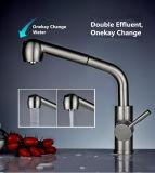 SUS304 Pullable tournent universel en acier inoxydable double robinet d'effluents
