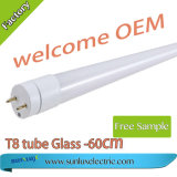2 años de la garantía 9With14With18With24W 100lm/W del vidrio T8 LED de luz del tubo