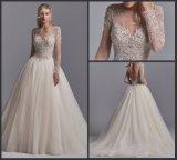 2018 lange Hülsen-Brautballkleider Champagne A - Zeile Hochzeits-Kleid A201710