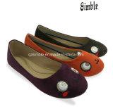 Chaussures supérieures de ballerine de tissu de suède de filles avec Outsole doux