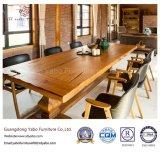 حديث [سليد ووود] مطعم أثاث لازم مجموعة مع جلد كرسي ذو ذراعين ([يب-ر4])