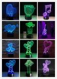 バレンタインの青いスピーカーが付いているロマンチックなギフト3Dの印刷LED夜ライト