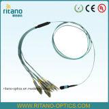 MTP/MPO-LCのマルチモード50/125um (OM3)水の小型高耐久化された2mmブレイクアウトケーブル