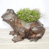 2017年の花こう岩の終わりのカエルの形の動物の植木鉢の装飾