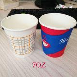 Comercio al por mayor de café desechables vasos de papel 7oz de agua potable caliente