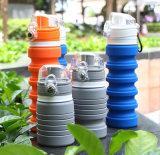 Bouteille d'eau compressible de silicones de catégorie alimentaire gris de 18 onces
