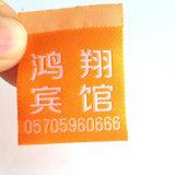 Nylon recubierto de una cara impresa etiquetas de tela de tafetán