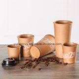 8 унции коричневый крафт-бумаги чашки кофе с крышкой