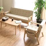 Sofá moderno doble de madera sólida de la tela