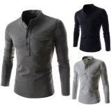 Longs T-shirts chauds de chemises pour la chemise de robe d'homme d'Otton des hommes