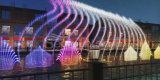 Fuente de agua flotante inoxidable encendida LED brillante al aire libre del baile
