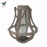 3 размера коричневый большие круглые деревянные фонарь со стеклянной чашки трос ручки