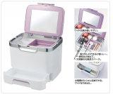 Het Plastic Kosmetische Geval van uitstekende kwaliteit van de Make-up van de Organisator met Spiegel