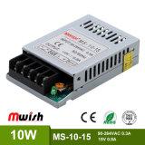 regelte MiniAluminiumlegierung-Gehäuse SMPS DC15V 0.8A der größen-10W Stromversorgung