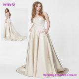 Vestido de casamento Ivory elegante barato do modelo novo com bolso