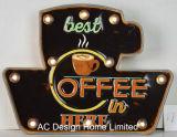 """Vintage оформлены старинной тиснение (emboss) """"Жизнь начинается после кофе"""" конструкции металлические и пластиковые рамы стены оформлены W/светодиодный индикатор"""