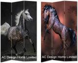 말, 얼룩말 & 지라프 디자인 거실 화포와 나무로 되는 인쇄 장식적인 접히는 스크린 룸 분배자 x 3 위원회