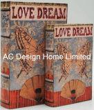 S/2 colorido diseño de mariposa de cuero de PU/madera MDF Cuadro de la libreta de almacenamiento de impresión