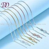 Encadenamiento genuino del collar de la plata esterlina 925 para la joyería del encadenamiento del rectángulo de las mujeres para el regalo del amante de las mujeres