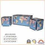 Hauptmöbel-hölzerne dekorative Weinlese-hellblaues Weltkarten-Druck-Speicher-Kabel