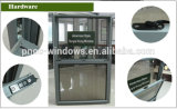 Perfil de alumínio de janela única Janela suspensa com ferragens americanas