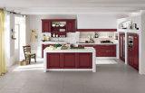 Armário de cozinha de madeira sólida moderna da Europa Gabinete de cozinha de madeira de cerejeira