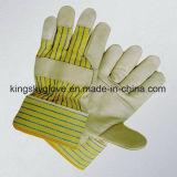 牛穀物によって修繕されるやし革働く手袋(3103)