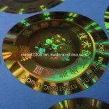 Collant auto-adhésif de laser d'étiquette d'or ronde faite sur commande d'hologramme