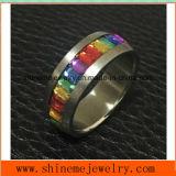 De Rechthoek Stone&#160 van de Kleuren van de manier; De Ring van het roestvrij staal (CZR2588)