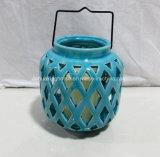 Lanterna di ceramica blu per la decorazione domestica