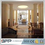 Pilar de mármol amarillento blanco decorativo, columnas de mármol