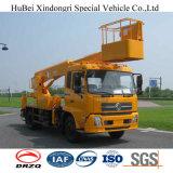 28m Dongfeng Euro4 망원경 공중 플래트홈 작동되는 트럭