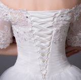 肩のスパンコールのアップリケの半分の袖の夜会服のウェディングドレスを離れて2016年