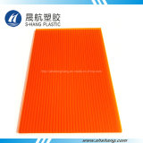 Feuille orange de cavité de mur de jumeau de polycarbonate de couleur