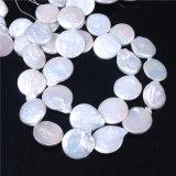 Moneda redondas naturales perlas de agua dulce floja de las gotas Strand