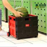 Freies Beispielqualitäts-rote und schwarze faltende Einkaufen-Laufkatze