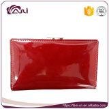 Бумажник рамки металла, бумажник женщин неподдельной кожи красного цвета малый