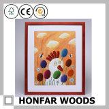 Kundenspezifischer Vierecks-roter hölzerner Bilderrahmen für Wand-Dekor