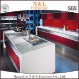 Armadio da cucina di legno dell'alta lacca di lucentezza di colore rosso