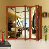 Дверь складчатости безосколочного стекла звукоизоляционного деревянного цвета алюминиевая французская внешняя