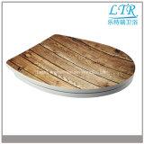 Housse de siège de toilette ronde et facile à imprimer avec motif en bois