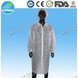 Heißer Verkaufs-nichtgewebter Labormantel, Wegwerflaborarbeitsmantel/Kleid, schützender Besucher-Mantel