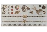 Autoadesivo provvisorio impermeabile metallico del tatuaggio dell'oro delle stelle marine della sirena