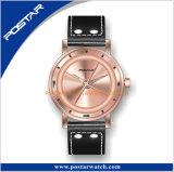 Trendy OEM van de Manier Horloge van het Merk van de Douane van de Riem van het Leer van het Geval van het Roestvrij staal Eigen