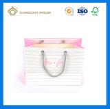 2017金属のリング(結び目が付いている綿のハンドル)が付いている新しい方法デザインペーパー・キャリア袋